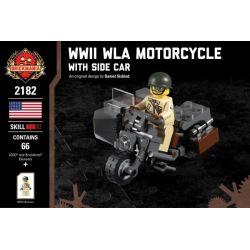 BRICKMANIA 2182 Xếp hình kiểu Lego MILITARY ARMY WWII WLA Motorcycle With Side Car WWII WLA Motorcycle And Mount Car Xe Mô Tô Và Xe Mô Tô Hạng Sang Của Thế Chiến II WLA 66 khối