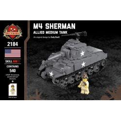 BRICKMANIA 2184 Xếp hình kiểu Lego MILITARY ARMY M4 Sherman - Allied Medium Tank (2018) M4 Shelman - Allied Middle Tank (2018) Tăng Hạng Trung M4 Sherman-Đồng Minh (2018) 540 khối