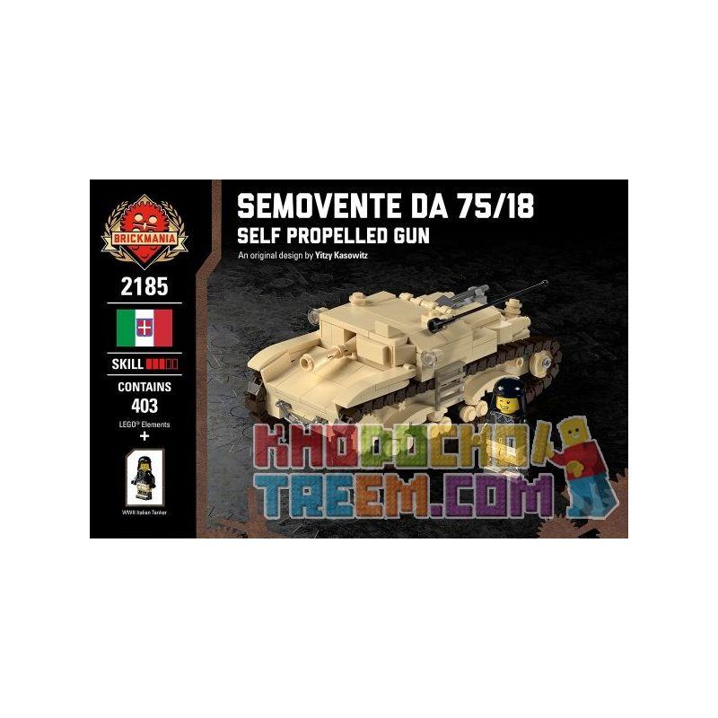 BRICKMANIA 2185 Xếp hình kiểu Lego MILITARY ARMY Semovente Da 75 18 - Self Propelled Gun 75 18 Types Of Self-organizers Pháo Tự Hành Type 75 18 403 khối