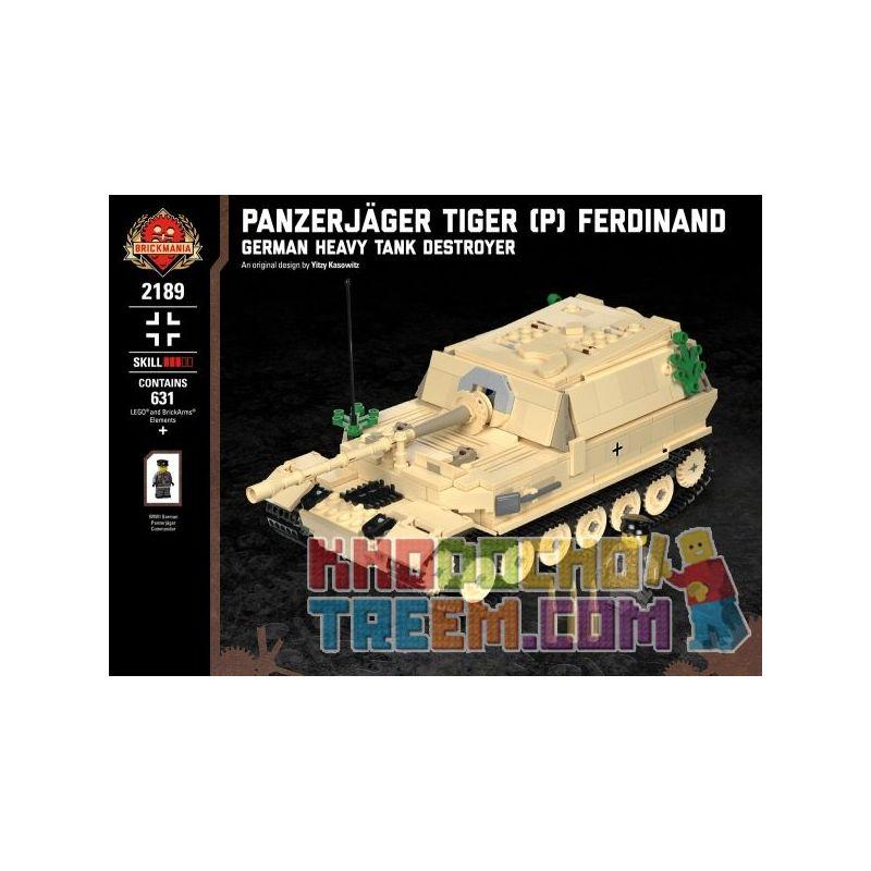 BRICKMANIA 2189 Xếp hình kiểu Lego MILITARY ARMY Panzerjäger Tiger (P) Ferdinand - German Heavy Tank Destroyer Tiger (P) Tank Strike - German Heavy Tank Fighter Khu Trục Hạm Tiger (P)-Pháo Chống Tăng