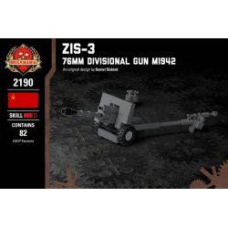 BRICKMANIA 2190 Xếp hình kiểu Lego MILITARY ARMY ZiS-3 - 76mm Divisional Gun M1942 76 Mm M1942 (ZIS-3) Súng 76mm M1942 (ZiS-3) 82 khối