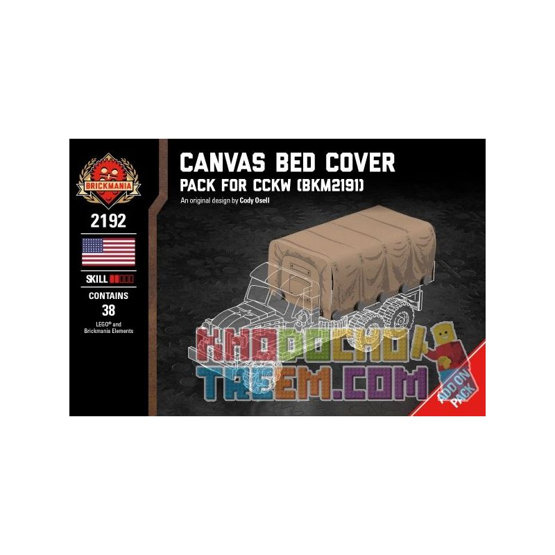 BRICKMANIA 2192 Xếp hình kiểu Lego MILITARY ARMY Canvas Bed Cover - Pack For CCKW (BKM2191) Canvas Cover - CCKW (BKM2191) Supplement Package Gói Nạp Canvas-CCKW (BKM2191) 38 khối