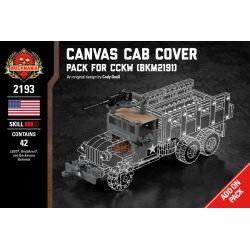 BRICKMANIA 2193 Xếp hình kiểu Lego MILITARY ARMY Canvas Cab Cover And Winch - Pack For CCKW (BKM2191) Canvas Cabin And Winch - CCKW (BKM2191) Supplement Tời Vải Và Bộ Tời-CCKW (BKM2191) 42 khối