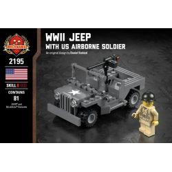 BRICKMANIA 2195 Xếp hình kiểu Lego MILITARY ARMY WWII Jeep With US Airborne Soldier Second World War II And US Airborne Xe Jeep Trong Thế Chiến II Và Lính Dù Hoa Kỳ 81 khối