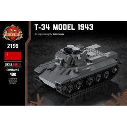 BRICKMANIA 2199 Xếp hình kiểu Lego MILITARY ARMY T-34 Model 1943 T-34 (Model 1943) T-34 (Mẫu 1943) 498 khối