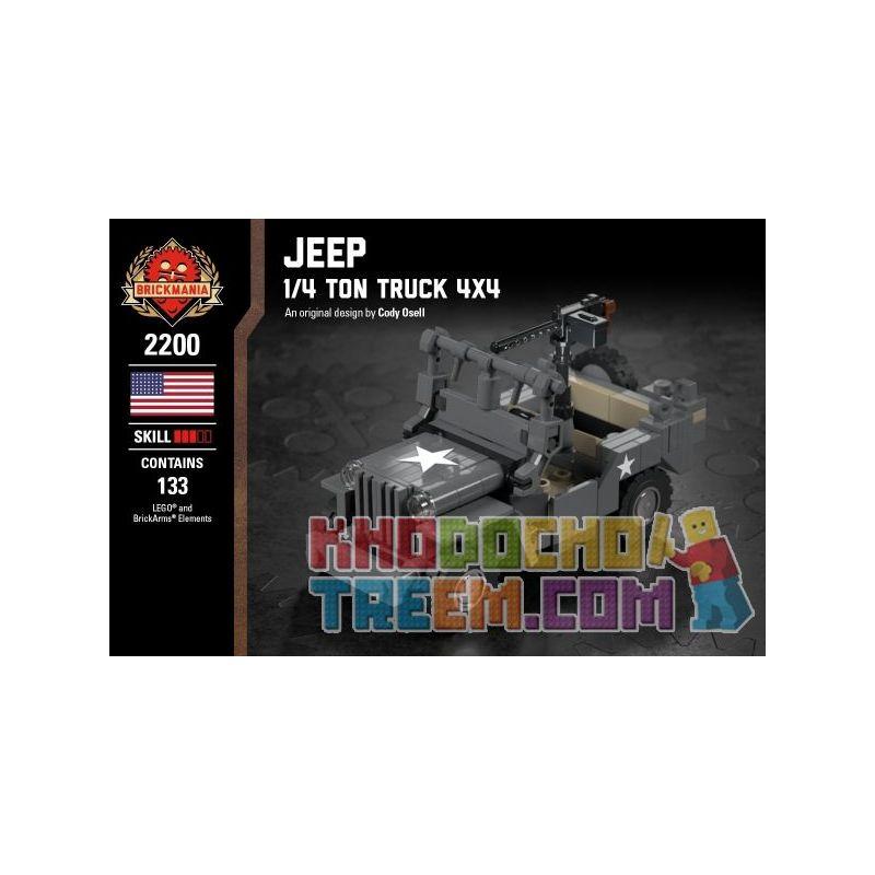 BRICKMANIA 2200 Xếp hình kiểu Lego MILITARY ARMY Jeep - 1 4 Ton Truck 4x4 Jeep - 1 4 Tons Of Truck 4x4 Xe Tải Jeep-1 4 Tấn 4x4 133 khối
