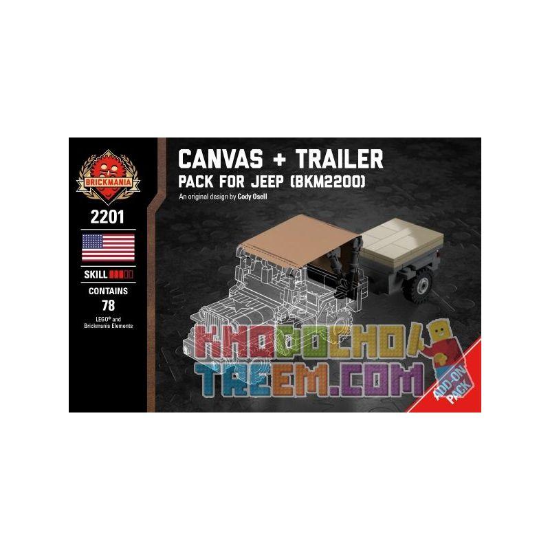 BRICKMANIA 2201 Xếp hình kiểu Lego MILITARY ARMY Canvas + Trailer - Pack For Jeep Canvas + Trailer - Jeep Supplement Package Gói Tăng Cường Canvas + Trailer-Jeep 78 khối