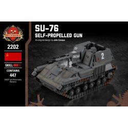 BRICKMANIA 2202 Xếp hình kiểu Lego MILITARY ARMY SU-76 Self-Propelled Gun SU-76 Self-contained Artillery Pháo Tự Hành SU-76 447 khối