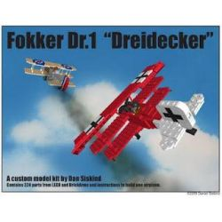 "BRICKMANIA 401 Xếp hình kiểu Lego MILITARY ARMY Fokker Dr.1 ""Dreidecker"" Focus Dr.i Fighter Máy Bay Chiến đấu Fokker Dr.I 324 khối"