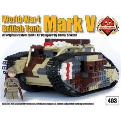 BRICKMANIA 403 Xếp hình kiểu Lego MILITARY ARMY Mark V Tank Đánh Dấu Xe Tăng V 703 khối