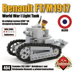 BRICKMANIA 404 Xếp hình kiểu Lego MILITARY ARMY Renault FT M1917 Renault FT-17 Tank M1917 Tank Xe Tăng Renault FT-17 Xe Tăng M1917 202 khối