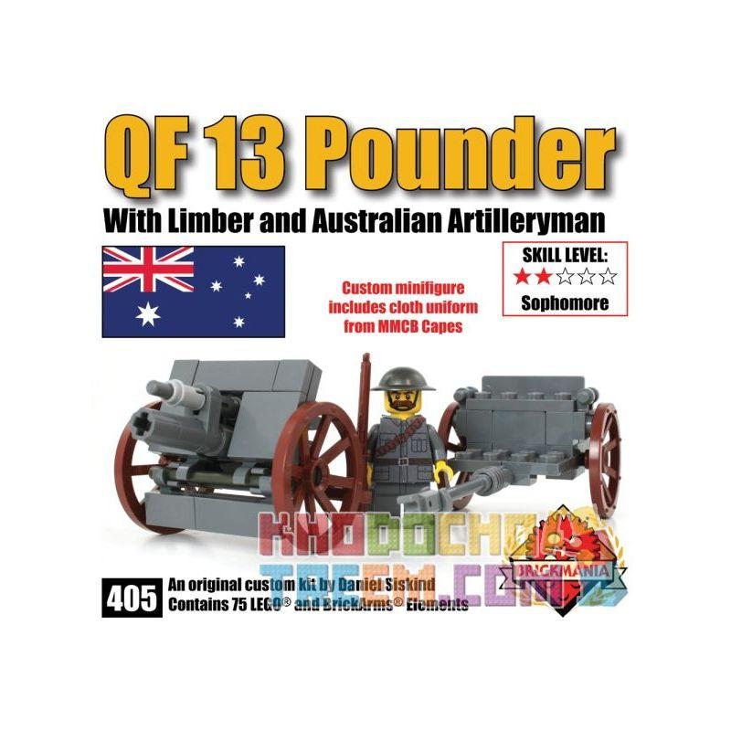 BRICKMANIA 405 Xếp hình kiểu Lego MILITARY ARMY QF 13 Pounder QF 13 Pound Wild Gun Súng Dã Chiến QF 13 Pounder 75 khối