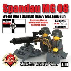 BRICKMANIA 406 Xếp hình kiểu Lego MILITARY ARMY Spandau MG 08 SPANDAU MG08 Heavy Machine Gun Súng Máy Hạng Nặng Spandau MG08 41 khối