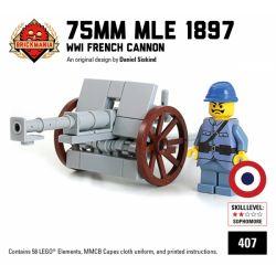 """BRICKMANIA 407 Xếp hình kiểu Lego MILITARY ARMY 75mm Mle 1897 """"French 75"""" 75mm Mle 1897 """"Pháp 75"""" 58 khối"""