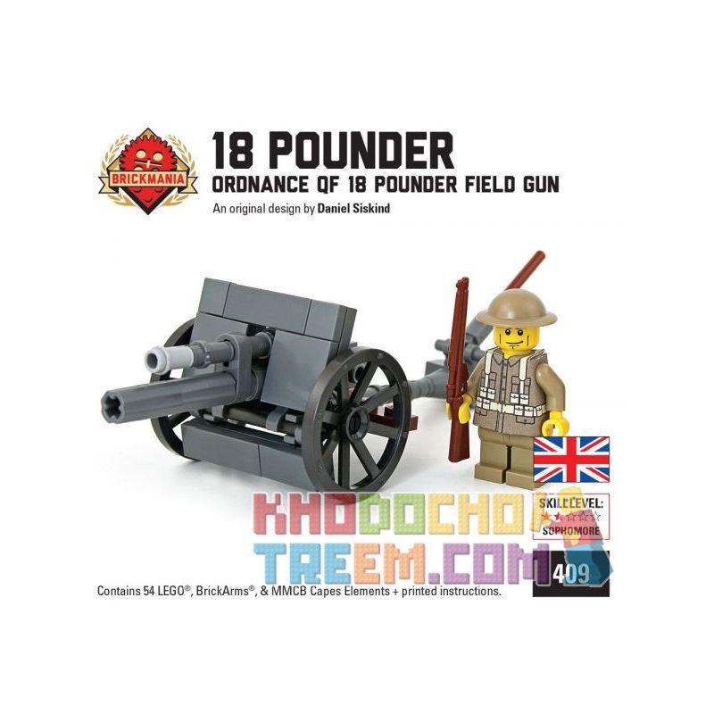 BRICKMANIA 409 Xếp hình kiểu Lego MILITARY ARMY Ordnance QF 18 Pounder Field Gun With British Soldier ORDNance QF 18 Pound Wild Warranthes And British Soldiers Súng Dã Chiến QF 18 Pounder Của Quân đội