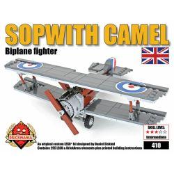 BRICKMANIA 410 Xếp hình kiểu Lego MILITARY ARMY Sopwith Camel Sophie Camel Fighter Máy Bay Chiến đấu Lạc đà Sopwith 293 khối