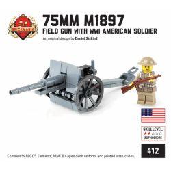 BRICKMANIA 412 Xếp hình kiểu Lego MILITARY ARMY 75mm M1897 Field Gun With WWI American Soldier 75mm M1897 Field Gun And A Military Soldier Súng Dã Chiến 75mm M1897 Và Lính Mỹ Trong Thế Chiến Thứ Nhất