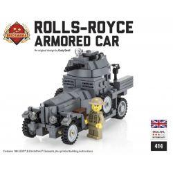 BRICKMANIA 414 Xếp hình kiểu Lego MILITARY ARMY Rolls-Royce Armored Car (Gray) Rolls Rolls Armored Car (gray) Xe Bọc Thép Rolls-Ross (xám) 198 khối