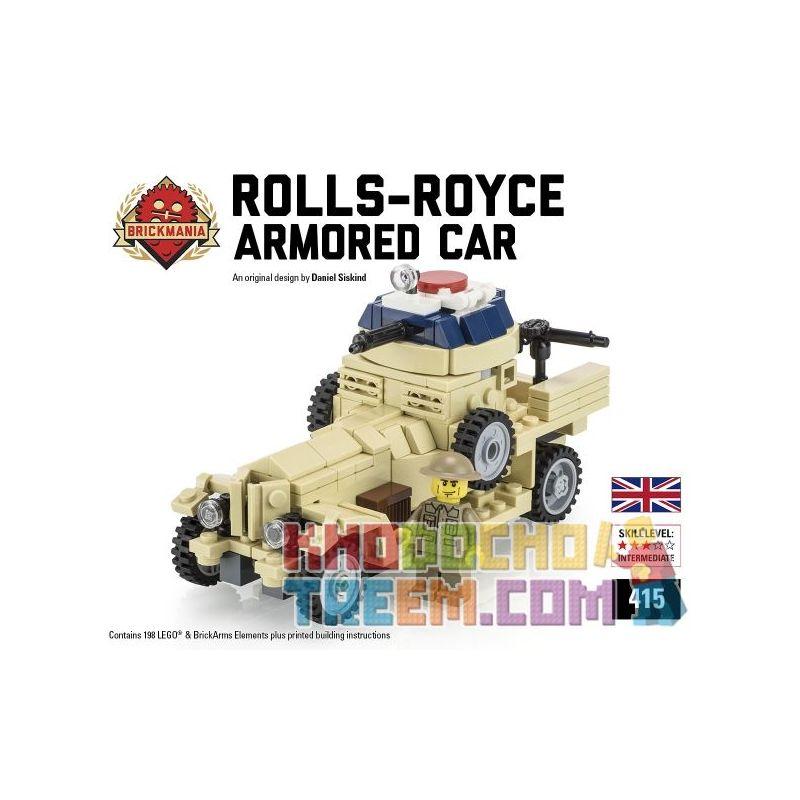 BRICKMANIA 415 Xếp hình kiểu Lego MILITARY ARMY Rolls-Royce Armored Car (Tan) Rollsls Armored Vehicles (tannami) Xe Bọc Thép Rolls-Ross (tan) 198 khối