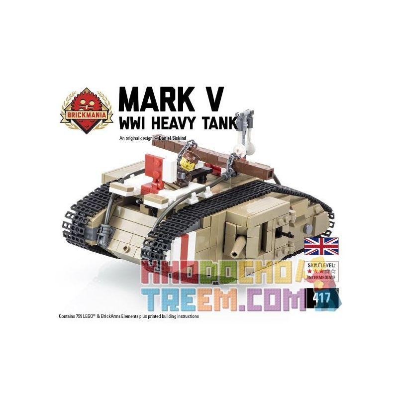 BRICKMANIA 417 Xếp hình kiểu Lego MILITARY ARMY Mark V (Heavy Tank) Mark V Heavy Tank Xe Tăng Hạng Nặng Mark V 759 khối