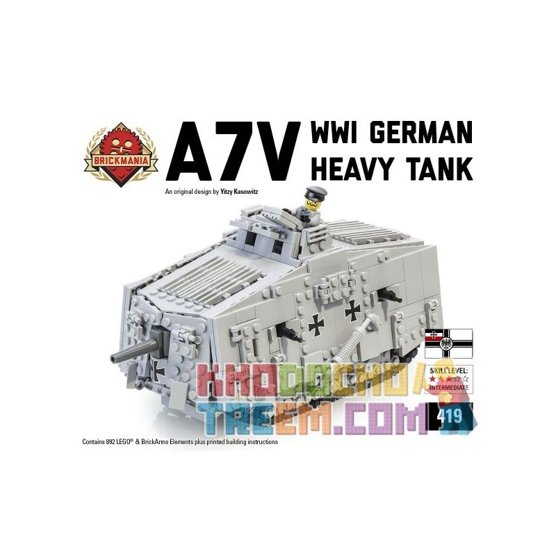 BRICKMANIA 419 Xếp hình kiểu Lego MILITARY ARMY A7V Tank Bể A7V 892 khối