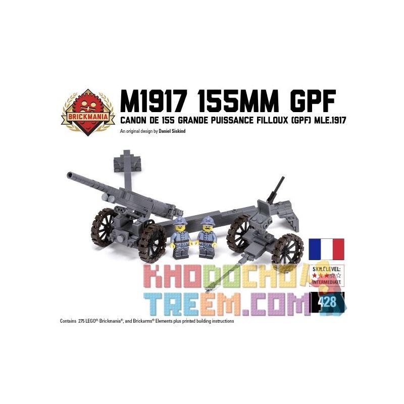 BRICKMANIA 428 Xếp hình kiểu Lego MILITARY ARMY M1917 155mm GPF Schneider 191755mm Grenaders Lựu Pháo 155mm Kiểu Schneider 1917 275 khối