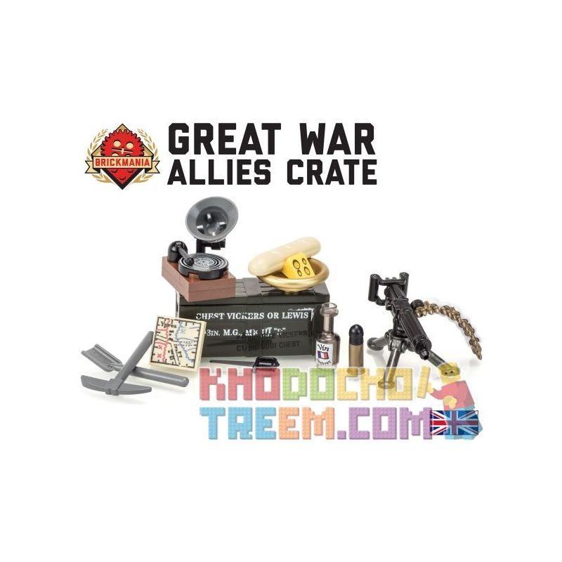 BRICKMANIA P001 Xếp hình kiểu Lego MILITARY ARMY Great War Allies Crate With Vickers Machine Gun First World War II, Military Machinery Box And Wicks Machine Hộp Vũ Khí Của Đồng Minh Trong Thế Chiến I