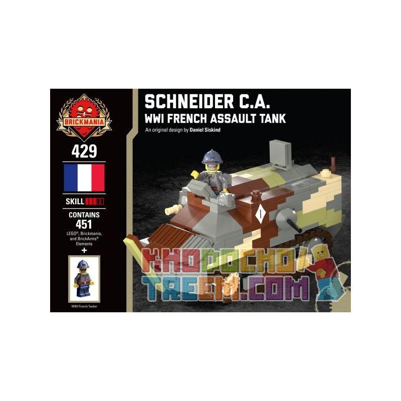 BRICKMANIA 429 Xếp hình kiểu Lego MILITARY ARMY Schneider C.A. - WWI French Assault Tank Schneider C.a. - World War French Tank Schneider C.A.-Xe Tăng Của Pháp Trong Thế Chiến I 451 khối