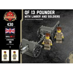 BRICKMANIA 430 Xếp hình kiểu Lego MILITARY ARMY QF 13 Pounder - With Limber And Soldiers QF 13 Pound Wild Gun - And Front And Soldiers QF 13 Pounder Dã Chiến-xe Và Người Lính Phía Trước 78 khối