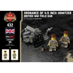 BRICKMANIA 432 Xếp hình kiểu Lego MILITARY ARMY Ordnance QF 4.5 Inch Howitzer ORDNance QF 4.5-inch Grenaders Lựu Pháo Cỡ Nòng 4,5 Inch QF 54 khối