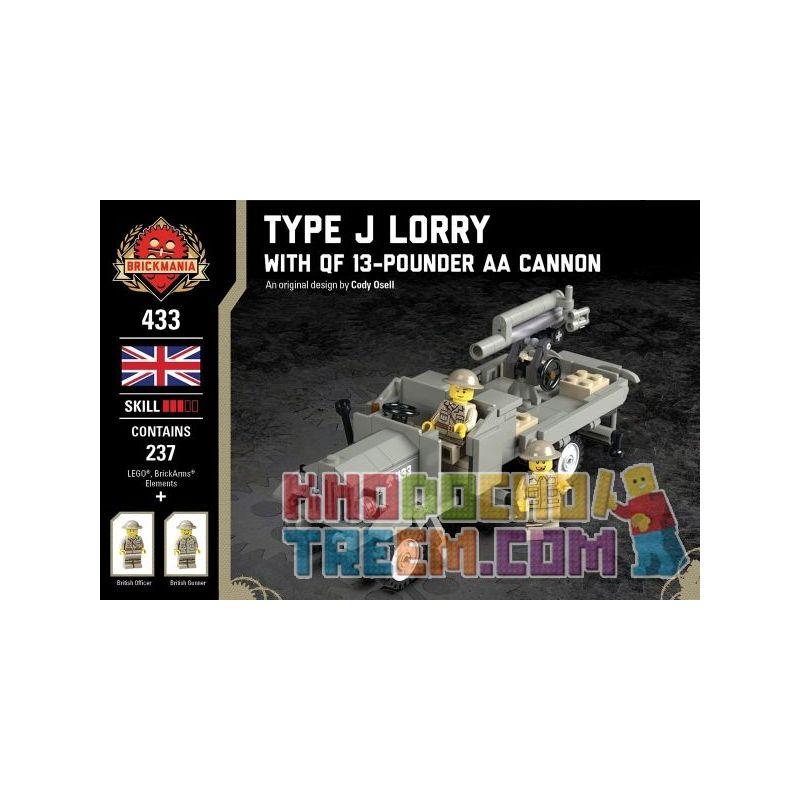 BRICKMANIA 433 Xếp hình kiểu Lego MILITARY ARMY Type J Lorry - With QF 13-Pounder AA Cannon J Truck - And 13 Pounds AA Cannon Xe Tải J Và Khẩu Pháo AA 13 Pound 237 khối