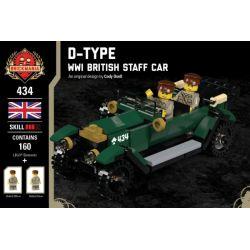 BRICKMANIA 434 Xếp hình kiểu Lego MILITARY ARMY D-Type - WWI British Staff Car D Type - A Battle British Commander Loại D-Xe Chỉ Huy Của Anh Trong Thế Chiến I 160 khối
