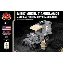 BRICKMANIA 437 Xếp hình kiểu Lego MILITARY ARMY M1917 Model T Ambulance Xe Cứu Thương M1917 Model T 206 khối