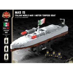 BRICKMANIA 440 Xếp hình kiểu Lego MILITARY ARMY MAS 15 - Italian World War I Motor Torpedo Boat Mas 15 - Italy, A Warfish MAS 15-Thuyền Phóng Ngư Lôi Của Ý Trong Thế Chiến I 942 khối