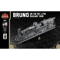 BRICKMANIA 441 Xếp hình kiểu Lego MILITARY ARMY Bruno - 28 Cm SK L 40 Railway Gun Bruno - 28 Cm SK L 40 Train Gun Súng Tàu Bruno-28 Cm SK L 40 1367 khối