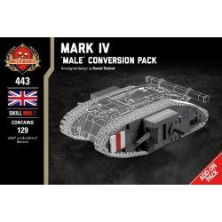 """BRICKMANIA 443 Xếp hình kiểu Lego MILITARY ARMY Mark IV - """"Male"""" Conversion Pack Mark IV - """"MALE"""" Convert Pack Mark IV- Gói Chuyển đổi """"Nam"""" 129 khối"""