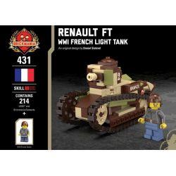 BRICKMANIA 431 Xếp hình kiểu Lego MILITARY ARMY Renault FT - WWI French Light Tank Renault FT - French Light Tank Xe Tăng Hạng Nhẹ Renault FT-Pháp Trong Thế Chiến Thứ Nhất 214 khối