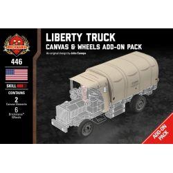 BRICKMANIA 446 Xếp hình kiểu Lego MILITARY ARMY Liberty Truck Canvas & Wheels Add-On Pack Liberty Truck Canvas And Wheels Attached Package Gói Phụ Kiện Bánh Xe Và Vải Bạt Cho Xe Tải Liberty 10 khối