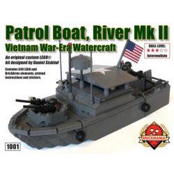BRICKMANIA 1001 Xếp hình kiểu Lego MILITARY ARMY Patrol Boat Riverine MKII Riverine MKII Courbirth Tàu Du Lịch Riverine MKII 646 khối