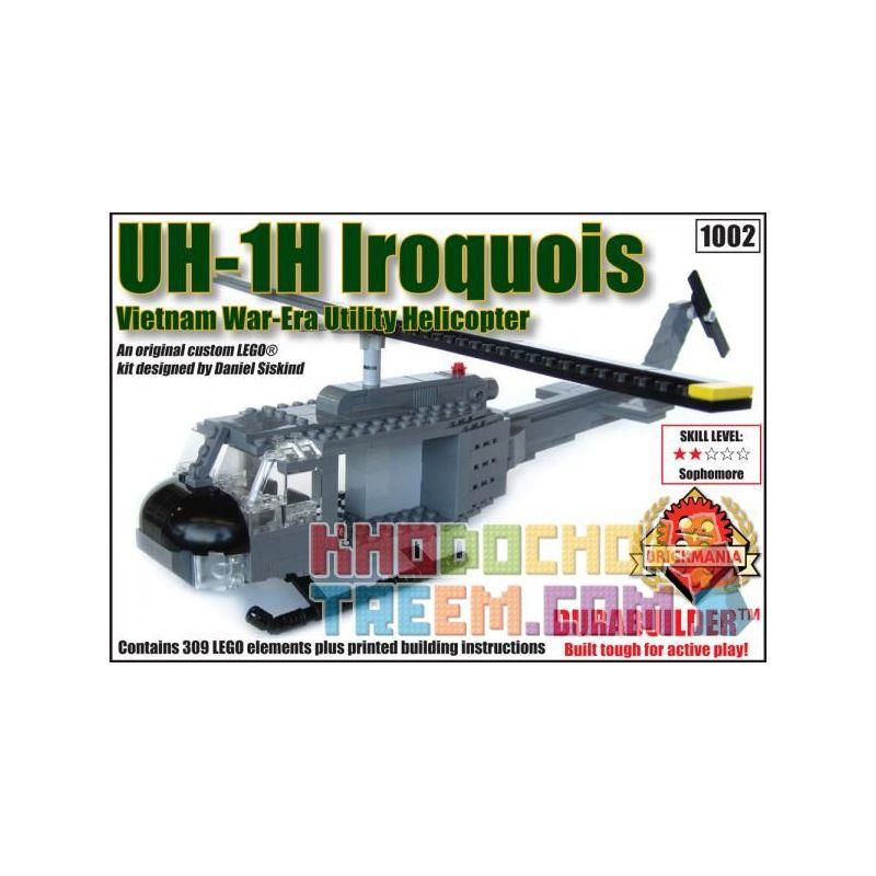 BRICKMANIA 1002 Xếp hình kiểu Lego MILITARY ARMY UH-1H Iroquois - Durabuilder Kit UH-1H Helicopter - Durabuilder Kit Bộ Dụng Cụ Trực Thăng UH-1H-Durabuilder 309 khối