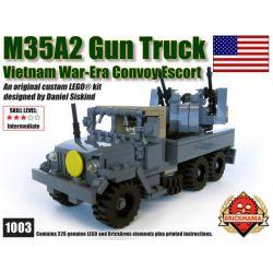BRICKMANIA 1003 Xếp hình kiểu Lego MILITARY ARMY M35A2 GUN TRUCK M35A2 Armed Truck Xe Tải Vũ Trang M35A2 326 khối