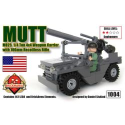 BRICKMANIA 1004 Xếp hình kiểu Lego MILITARY ARMY M825 MUTT 1 4 Ton 4×4 Weapon Carrier With 106mm Recoilless Rifle M825 MUTT 1 4 TON 4 × 4 Weapon Carriage And 106mm No Rear Scorpion M825 MUTT 1 Mang Vũ