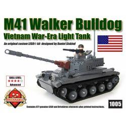 BRICKMANIA 1005 Xếp hình kiểu Lego MILITARY ARMY M41 Walker Bulldog Light Tank M41 Walker Farming Light Tank Xe Tăng Hạng Nhẹ M41 Walker Bulldog 677 khối