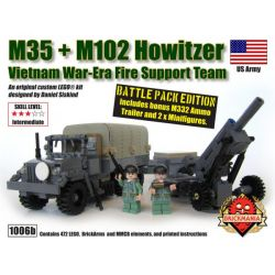 BRICKMANIA 1006B Xếp hình kiểu Lego MILITARY ARMY M35 + M102 Howitzer Battle Pack M35 + M102 Grenader Battle Bag Gói Chiến đấu Lựu Pháo M35 + M102 478 khối