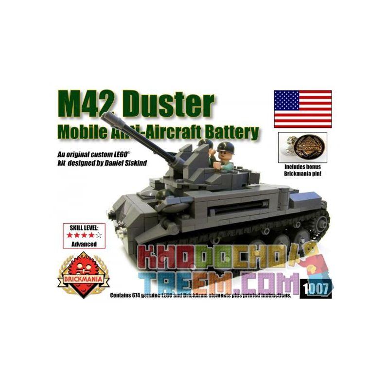 BRICKMANIA 1007 Xếp hình kiểu Lego MILITARY ARMY M42 Duster 40mm AA Battery M42 40mm Air Defense Gun AA Battery Xe Pháo Phòng Không M42 40mm Pin AA 674 khối