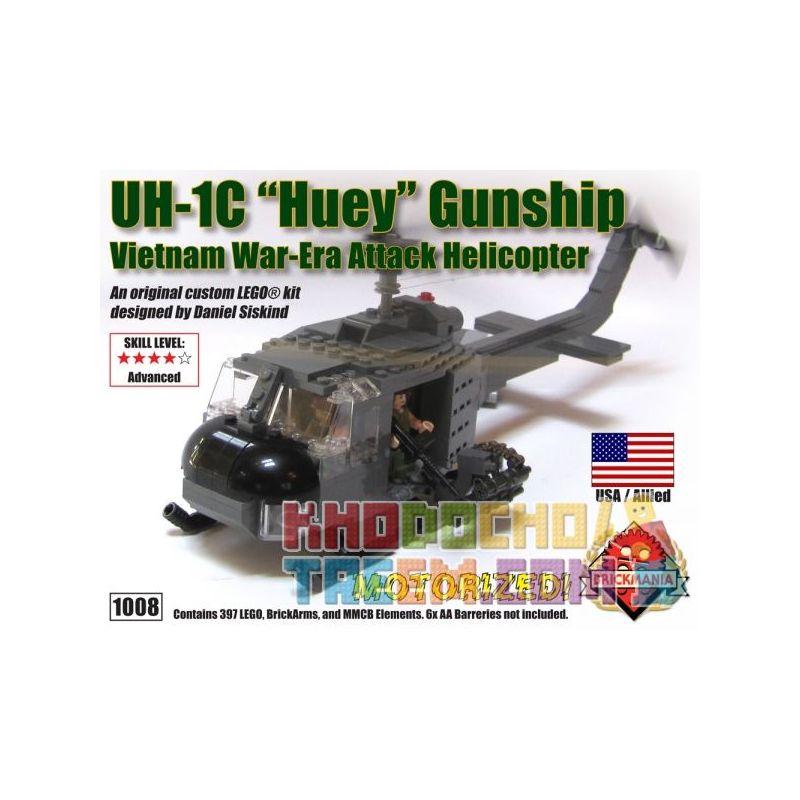 """BRICKMANIA 1008 Xếp hình kiểu Lego MILITARY ARMY UH-1C """"Huey"""" Gunship - Premium Edition UH-1C Houy Warlifter - Advanced Edition UH-1C Houy Warlifter - Phiên Bản Nâng Cao 397 khối"""