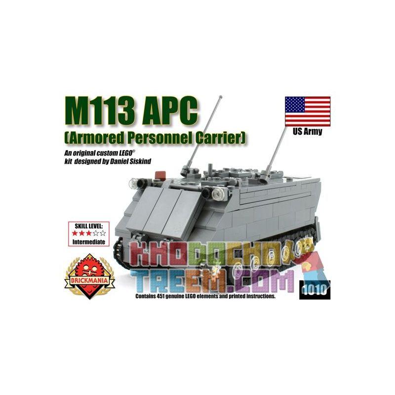 BRICKMANIA 1010 Xếp hình kiểu Lego MILITARY ARMY M113 Armored Personnel Carrier M113 Armored Shipper Tàu Sân Bay Bọc Thép M113 451 khối