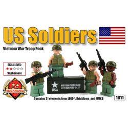 BRICKMANIA 1011 Xếp hình kiểu Lego MILITARY ARMY US Soldiers – Vietnam War Troop Pack American Soldier - Vietnam Soldier Bag Lính Mỹ-Bộ Lính Việt Nam 31 khối