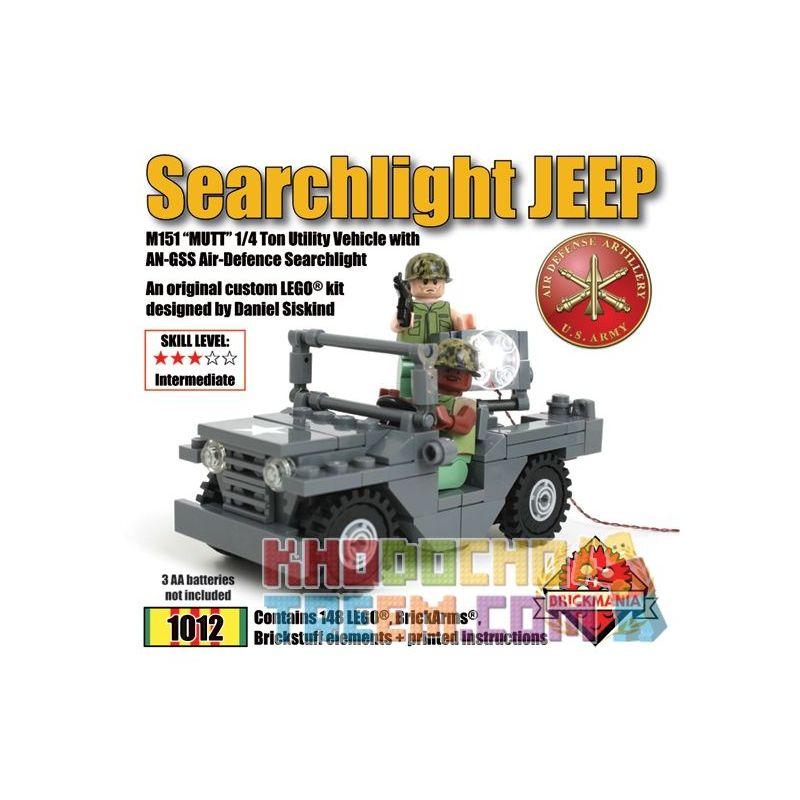 BRICKMANIA 1012 Xếp hình kiểu Lego MILITARY ARMY Searchlight Jeep With Brickstuff Light Effects Search Light Jeep And Lighting Effect Parts Đèn Pha Xe Jeep Và Các Bộ Phận Hiệu ứng ánh Sáng 148 khối