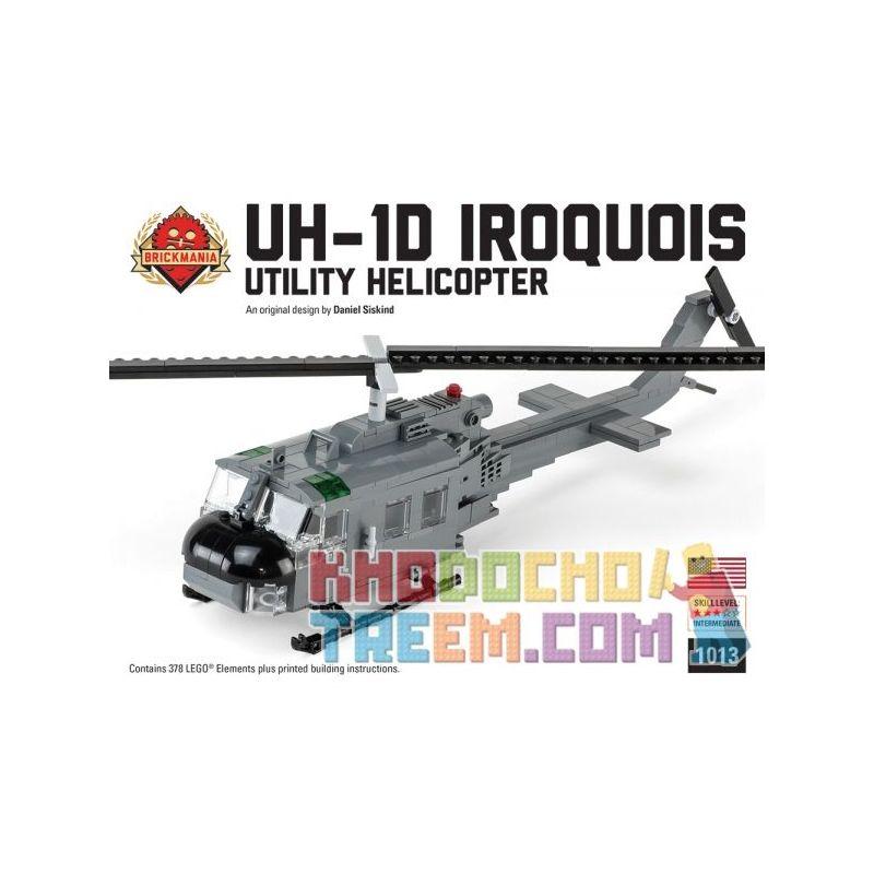 BRICKMANIA 1013 Xếp hình kiểu Lego MILITARY ARMY UH-1D Iroquois UH-1D Helicopter Trực Thăng UH-1D 378 khối